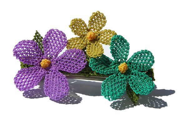 Whimsical lace flower French barrette purple teal by LandofDante,
