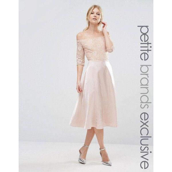 True Decadence Petite Lace Bardot Midi Prom Dress ($34) ❤ liked on Polyvore featuring dresses, beige, petite, crop dress, maxi dresses, racer back dress, lined maxi dress and petite dresses