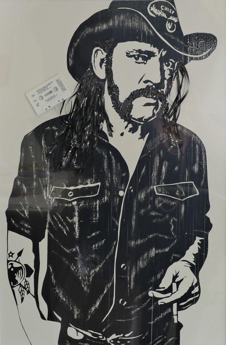 Gypsy Lea-Douglas - Lemmy, Motorhead Audio cassette-tape on MDF board 60cm x 90cm