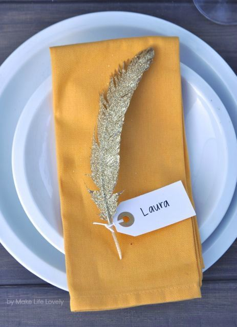 Beautiful place setting! Gold Glittered Feather Thanksgiving Name Cards