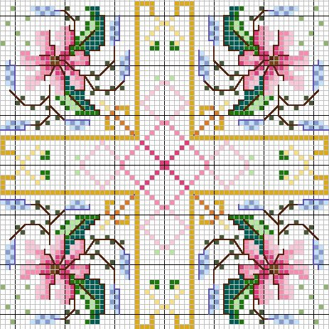 Cross-stitch biscornu ... no color chart available, just use the pattern chart as your color guide.. or choose your own colors... 80113107_large_019z.gif 463×463 pixels