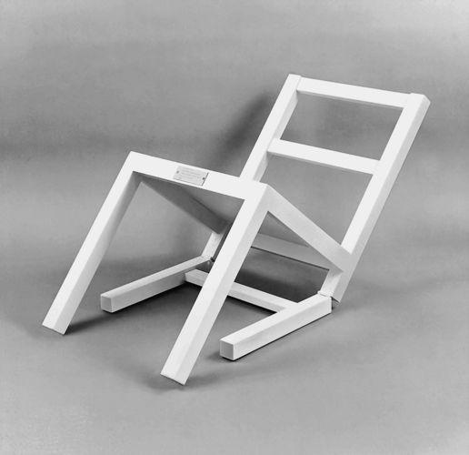 Timm Ulrichs, 'Der erste sitzende Stuhl (nach langem Stehen sich zur Ruhe setzend)' (1970)    Transl.: 'The first chair sitting down (relaxing after standing for a long time)'
