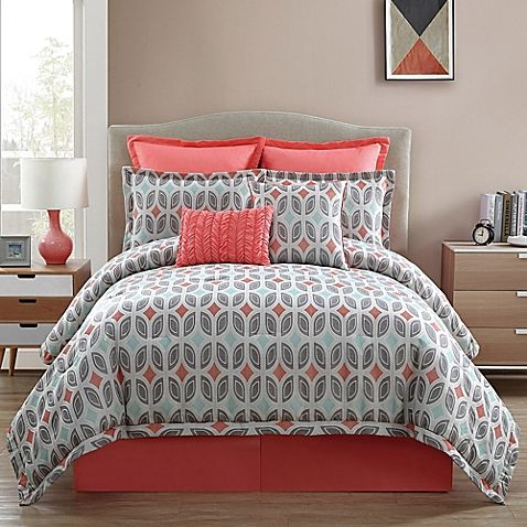 Brighten up your bedroom with the lively Clairebella Bermuda Comforter Set. The unique jacquard bedding uses an allover leaf-like pattern in a mix of grey, light blue, and a soft coral color to add a pop of color to your bed.