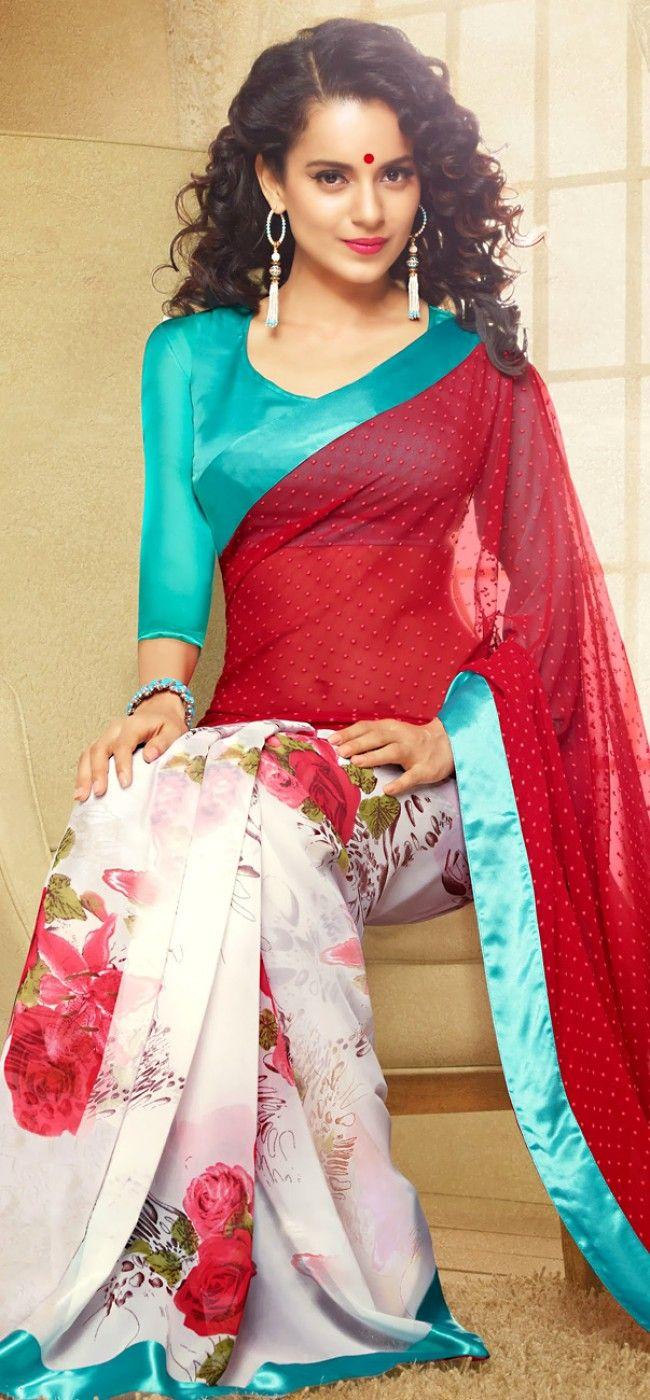 Kangana in red and white roses saree: KSR2596