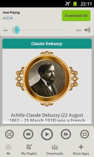 Listen to classical music online or download classical music with this free android app! In Claude Debussy Music Works app we have compiled the best classical music from one of the greatest classical music composers of all time.<p>Achille-Claude Debussy life (22 August 1862 – 25 March 1918)<p>Claude Debussy was a French composer whose musical works categorizes as Impressionist music and Romantic music according to classical period timeline, he is one of the great French classical composers…