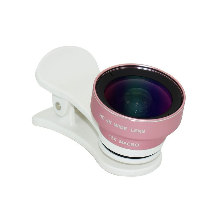 2 in 1 HD 4K Wide Angle Lens No Distortion 120° & 15X Macro Sales Online rose gold - Tomtop.com