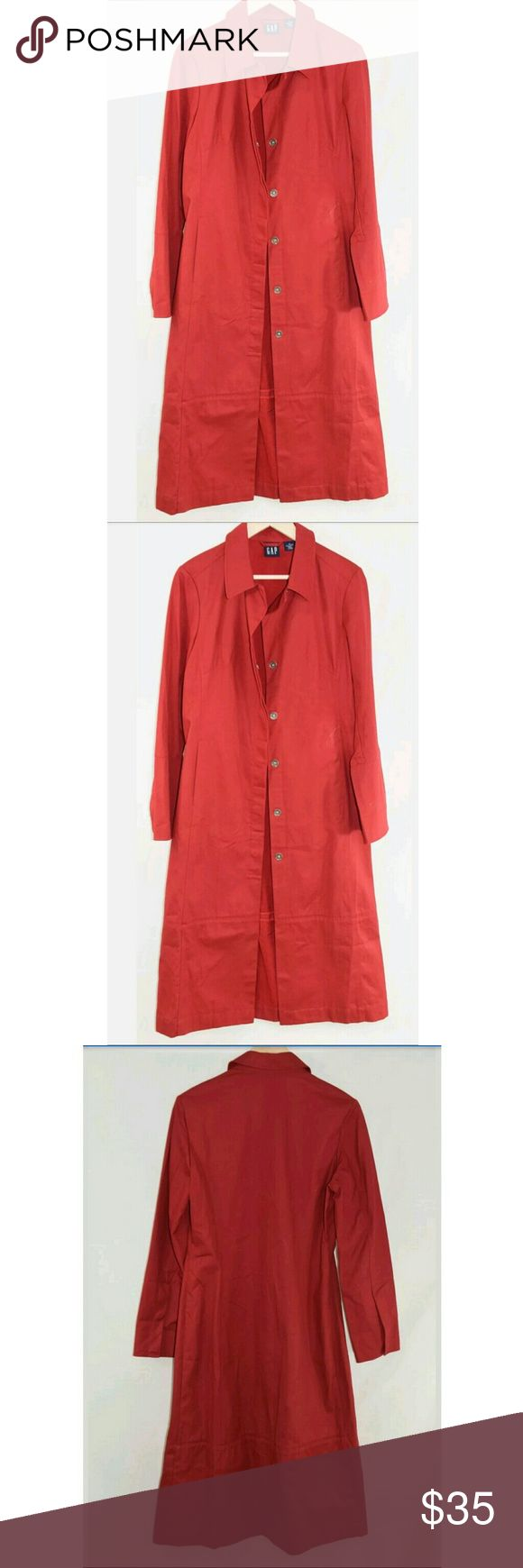 """Gap- Ladies Trench Coat Style Jacket Size M Gap- Ladies Trench Coat Style Jacket Red Women's -Size M -100% Cotton   Condition: Pre-Owned, Gently Used   Please Remember all Clothing Items may fit differently depending on Brand, Fit, Use or Prior customization. We strongly urge our customer's to check measurements first to guarantee proper fitting   Material: 100% Cotton   Approximate Measurements ( Measurements taken with item laying flat)  Chest: 20""""  Sleeve Length: 31 1/2""""  Length: 47 1/2""""…"""