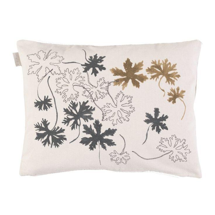 Linum Kissenhülle Ivy G19 beige mit filigraner Stickerei 30cm x 40cm, 100% Baumwolle, Kissenbezug, Kissen, Wohntextilien
