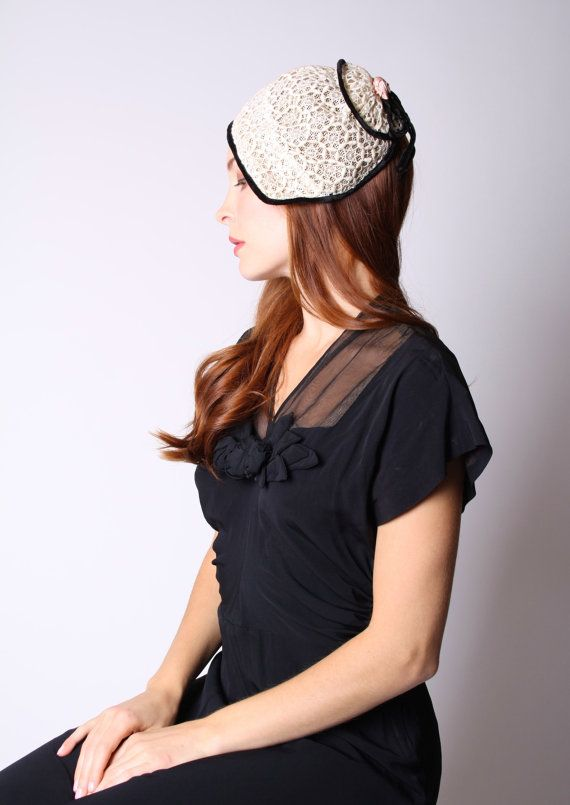 Vintage 1950s Hat  50s White Lace Hat  1950s Hats  by aiseirigh, $72.00