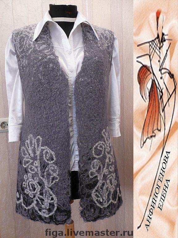 """Купить Жилет """"Офис"""" - тёмно-серый, орнамент, жилет, Жилет женский, одежда для женщин, креатив"""
