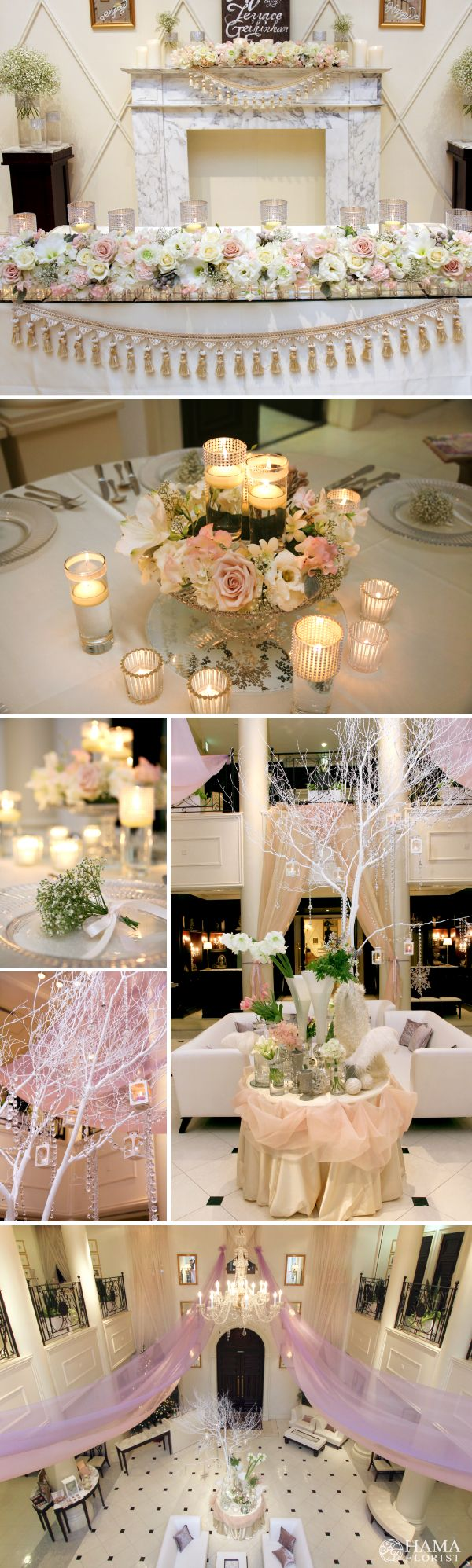 soft pink×white flower wedding with tulle