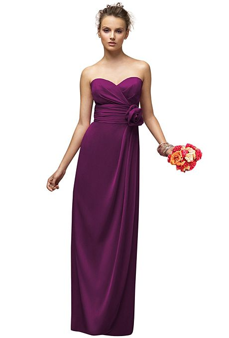 Brides.com: Bridesmaid Dresses for a Garden Wedding. Garden Wedding Bridesmaid Dress: Lela Rose. Style LX150, Lela Rose sweetheart floor-length dress with pleated bodice, draped skirt and a matching flower in wild berry, $320, available at Weddington Way  See more Lela Rose bridesmaid dresses.
