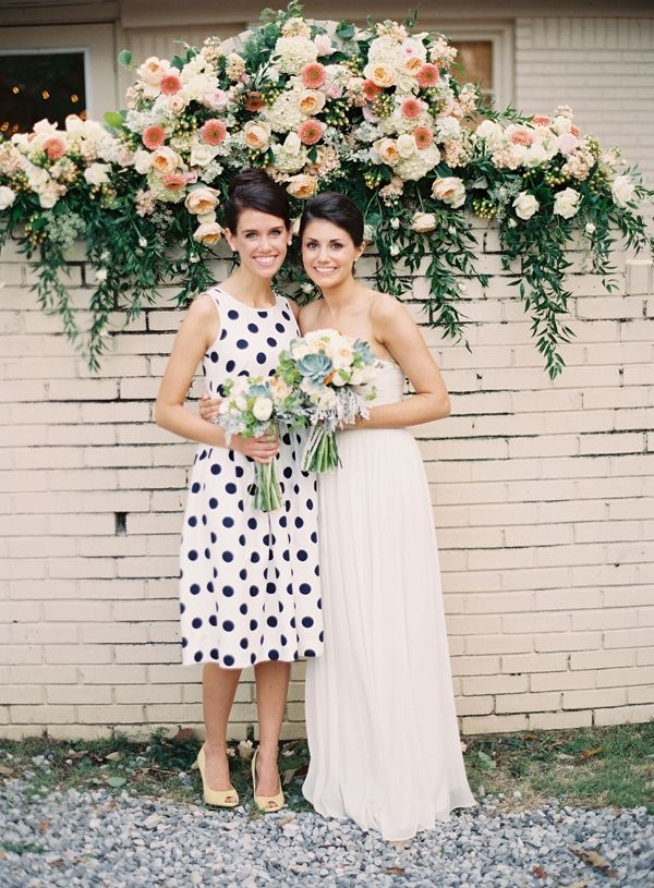 love the polka dot bridesmaid dress // photo by Heather Hester: Pattern Bridesmaid Dresses, Ideas, Polka Dots Bridesmaid Dresses, Wedding Dressses, Black And White, Heather Hester, Gardens Wedding, Bridal Parties, Hanging Flower
