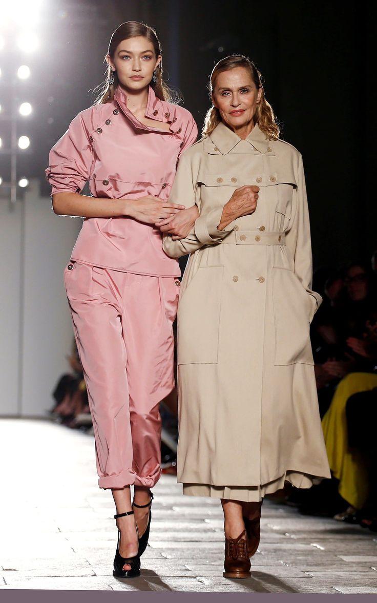 Gigi Hadid and Lauren Hutton on the spring 2017 Bottega Veneta catwalk.