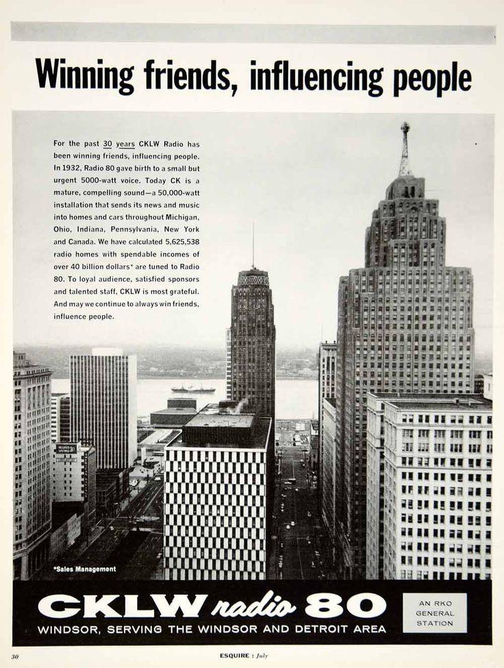 1962 Ad Vintage CKLW Radio 80 Windsor Detroit RKO Station City Skyline Buildings