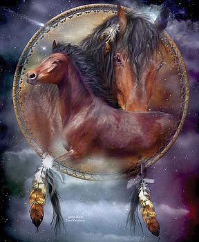 Horse Series: Firelite Two Horse With Rainbow Digital Art Painting