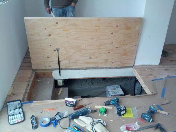 door gas springs worry ideas space door basement hatch trap doors