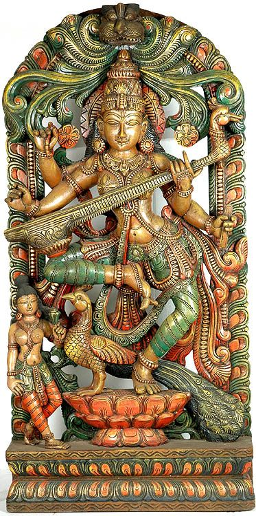 "Saraswati Dancing - South Indian Temple Wood Carving  48.0"" X 24.0"" X 6.0"""