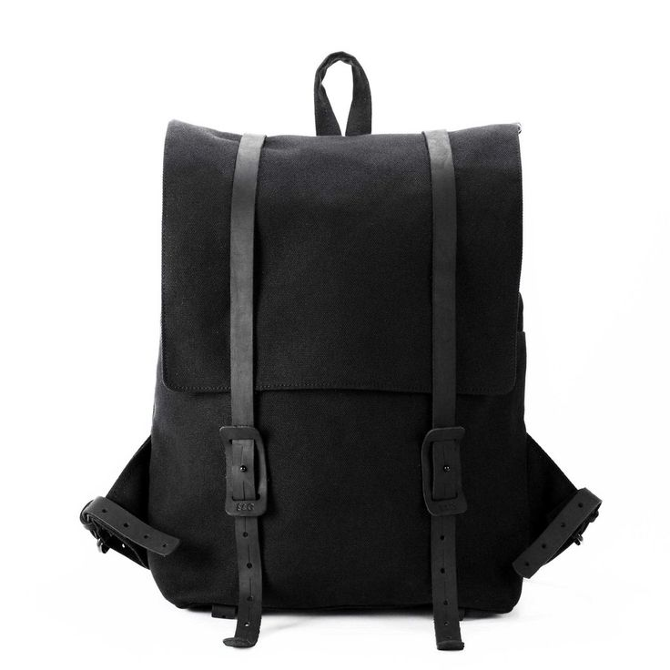 The Large Ruck   Black Canvas Backpack - STONE & CLOTH