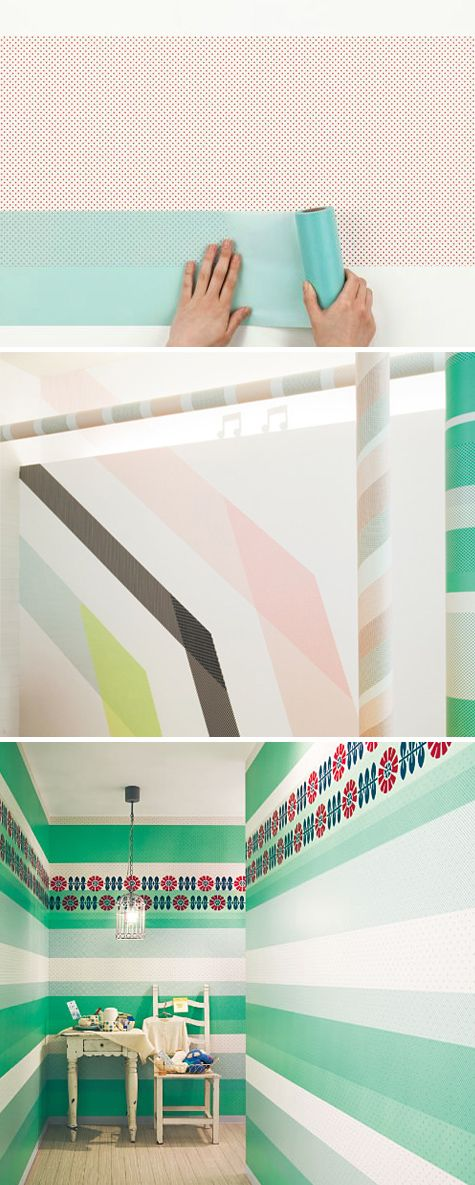 New translucent rice paper wallcovering by Sincol x MT. Japanese MT Tape = the best, only thing better than cute crafty tape is a giant version of it for your walls!