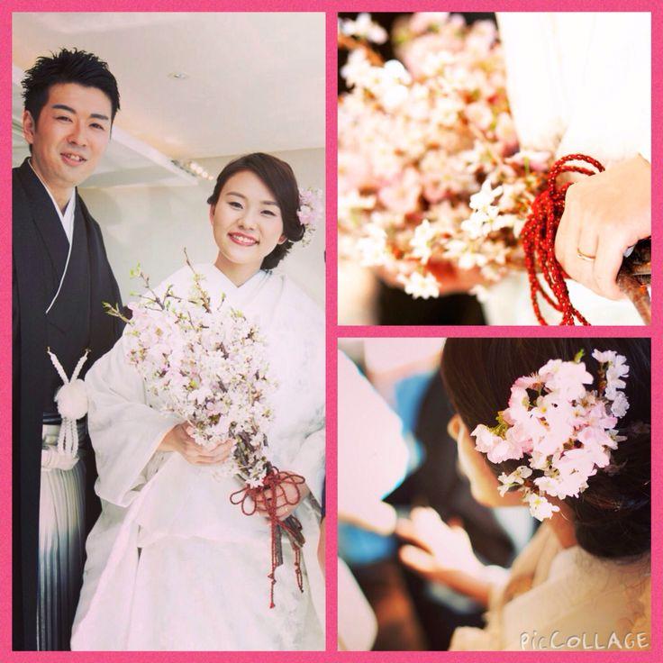 #wedding #白無垢 #桜 #クラッチブーケ #生花 #花嫁