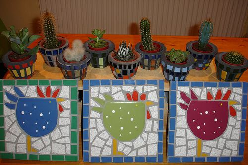cheeky chooks and cactus pots by moon marinka, via Flickr