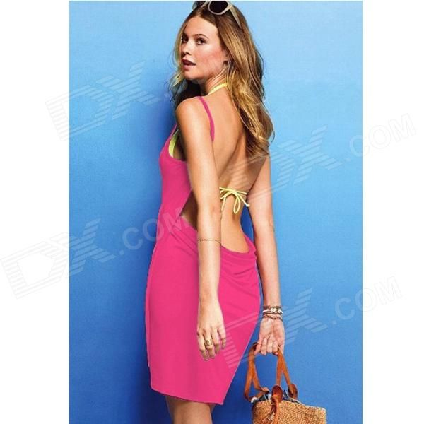 Creative Sleeveless Dress Bath Beach Towel - Deep Pink