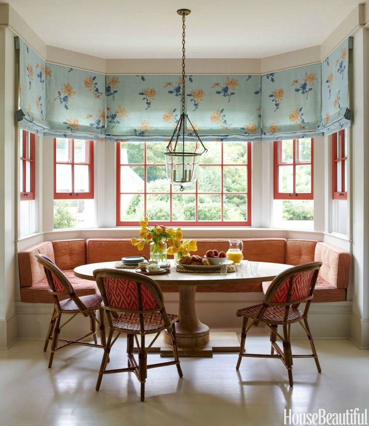A hamptons escape with a playful european elegance for European breakfast nook