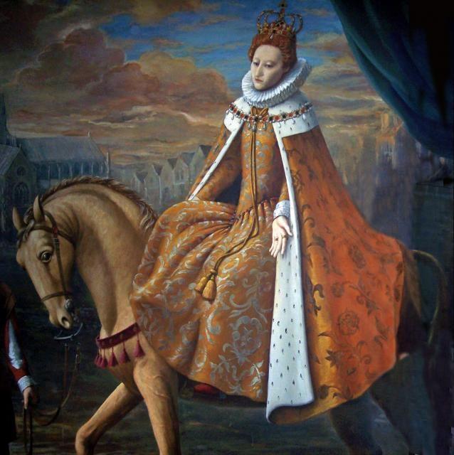 Painting depicting Elizabeth I. on Horseback.