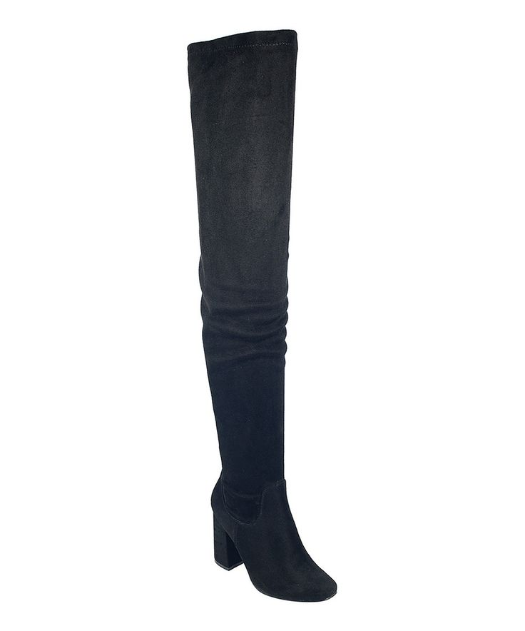 Take a look at this Nature Breeze Black Elantra Thigh-High Boot today!