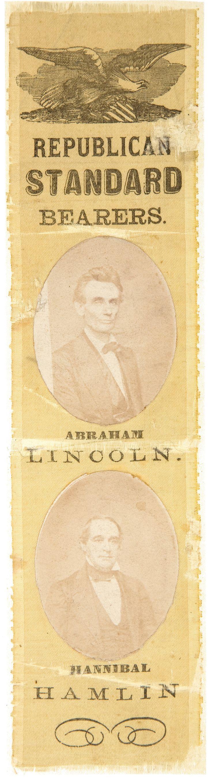 Abraham Lincoln & Hannibal Hamlin Yellow & Peach Presidential Campaign Silk Ribbon (1860) [$4,780 (2012)]