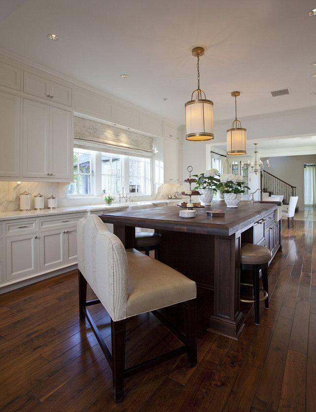 Classic White Kitchen. Classic white kitchen with bench on island.  #Classic #Kitchen #WhiteKitchen  Matthew Thomas Architecture, LLC.