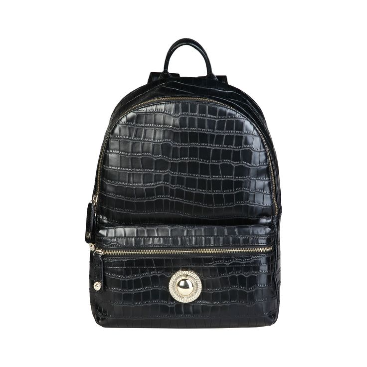 Versace Jeans – E1VPBBD2_75601  Backpack of eco-leather has 1 handle, adjustable straps, zip fastening, lined interior, external zipped pocket and a dust bag. Inside it, there are 1 zip pocket and 2 inside pockets. It is of size 28*36*20 cm. https://fashiondose24.com