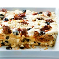Greek lasagna - addition of the secret ingredient (skyline chili!) makes this amazing!