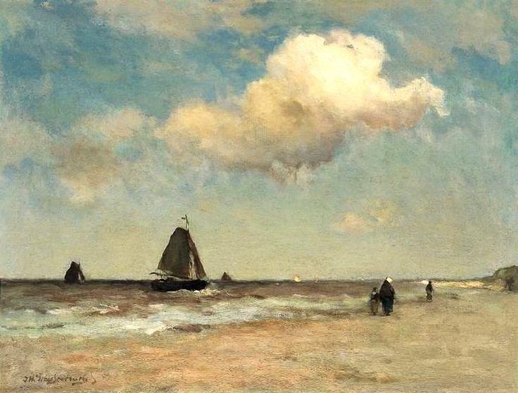Hendrik Johannes 'J.H.' Weissenbruch (1824-1903) Strandgezicht te Scheveningen. Coll. Simonis&Buunk, Ede)