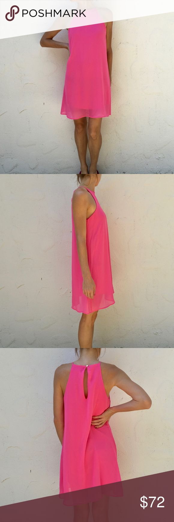 "Meghan LA Wanderlust Shift Mini Dress Candy Pink Mini Dress by Meghan LA Back keyhole with button closure Trapeze silhouette Fully lined Length 32"" USA Made! NWOT Meghan LA Dresses Mini"