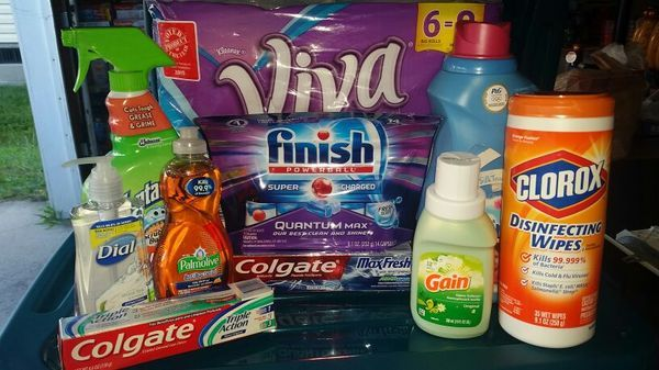 New (never used) - Viva 6/8 count papaer towel Finish dish detergent  Downy fabric softner  Clorox wipes 2 tubes colgate toothpaste  Fantastic all purpose cleaner  Small bottle gain Dial hand soap Palmolive dish soap
