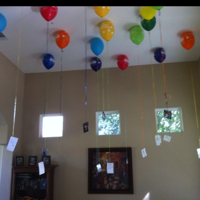 For my son's 18th birthday I had 18 balloons and 18 pictures (representing each year) and on the back of each picture I found a quote of saying that was either funny, inspiration or enduring! It was a big hit!  And a great project to revisit some great memories and moments I haven't thought about for a while. Got the idea on pinterest , but I changed it up and made it my own!