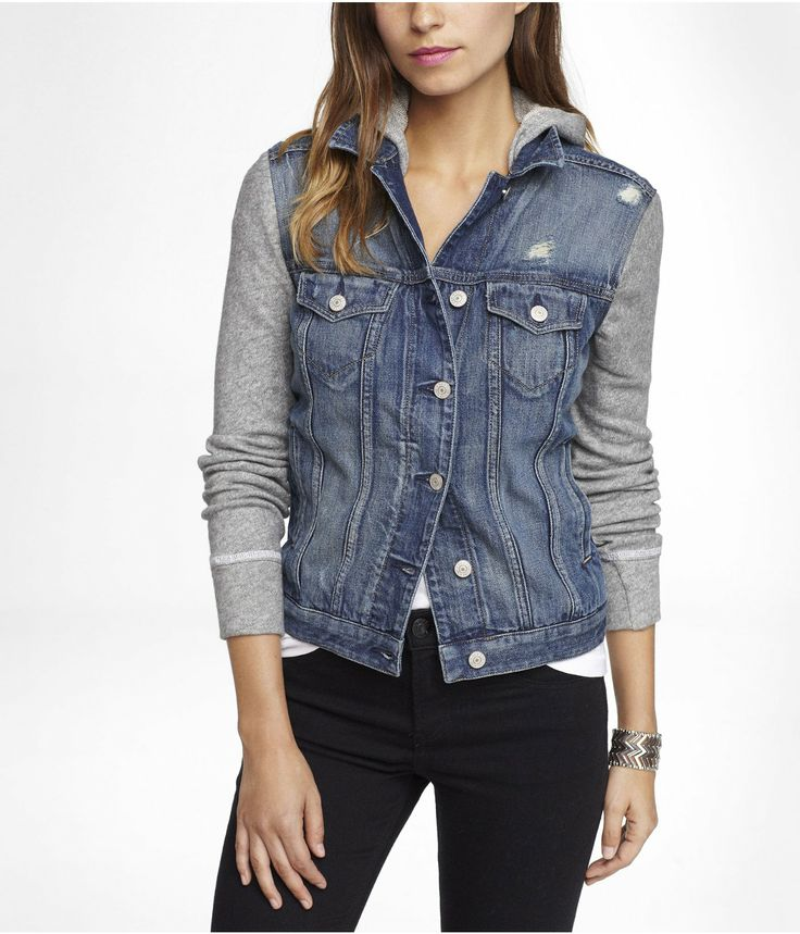 Express Jean Jacket With Sweatshirt Sleeves - Cardigan With Buttons