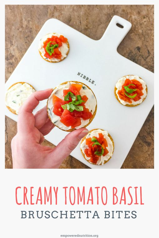 #AD Creamy Tomato Basil Bruschetta Bites served on a tender, crisp cracker are perfect for your next get together! | EmPowered Nutrition