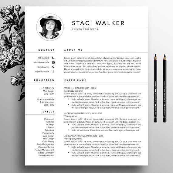 Modern Resume Template 3pk CV Template References Letter