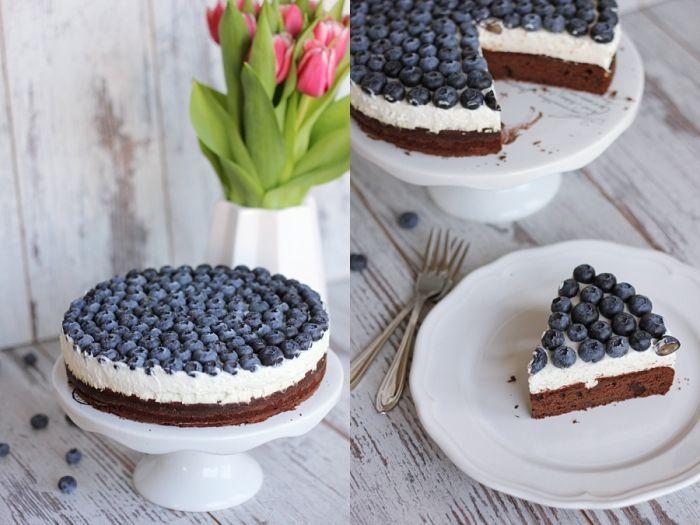 Schoko-Blaubeer-Torte mit Vanillequarkcreme
