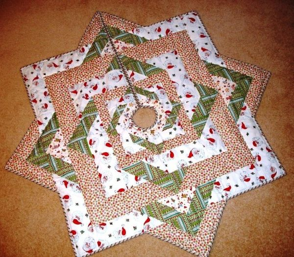 Quilted Christmas Tree Skirt Pinterest : christmas tree skirt quilt Free Quilt Pattern: Stars All Around Tree Skirt from EZ Quilting by ...