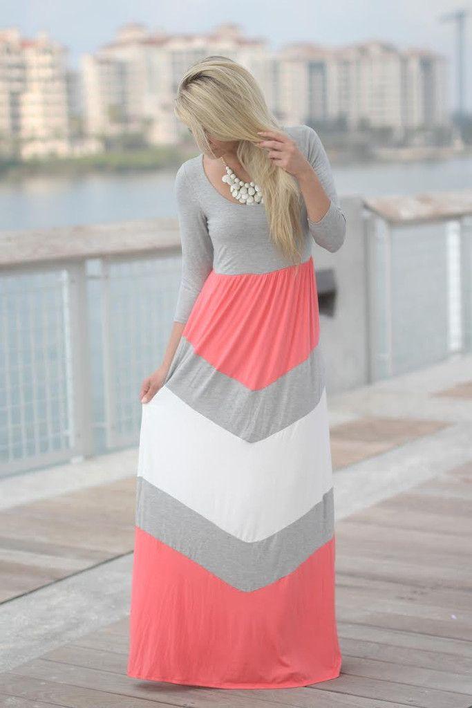 Coral and Gray Chevron Maxi Dress