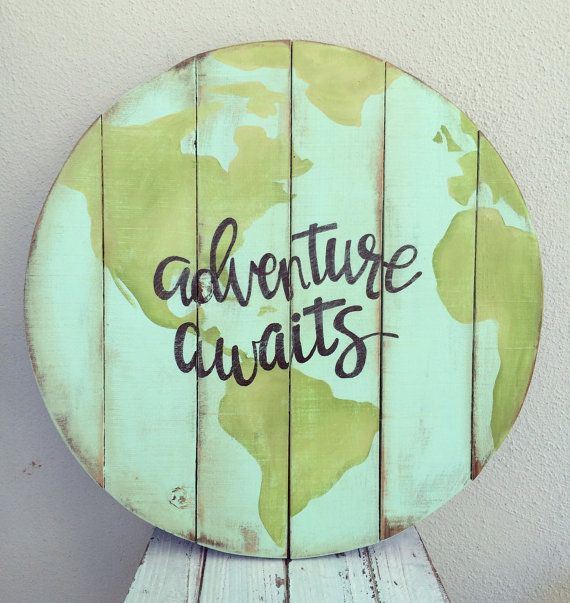 World pallet Sign ADVENTURE AWAITS by SweetLillyDoodles on Etsy