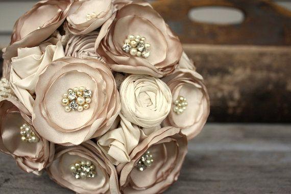 """Bouquet de mariée Champagne, bouquet de mariage fleurs de tissu, bouquet de fleurs de tissu de rechange 8"""""""