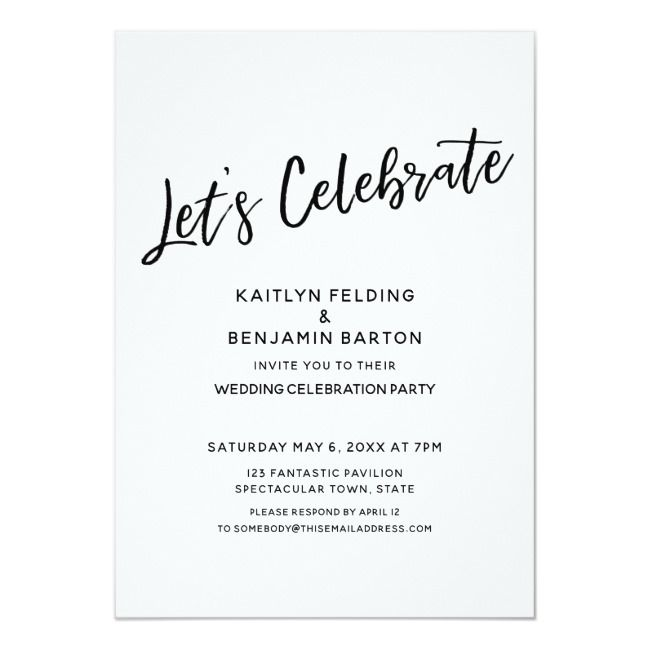 Let S Celebrate Casual Modern Reception Only Invitation Zazzle Com Reception Only Invitations Modern Reception Wedding Celebrations Party
