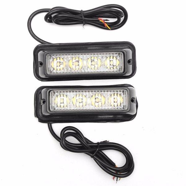Pair White/Amber High Bright LED Warning Emergency Light Beacon Strobe Flashlight Bar For Car Truck
