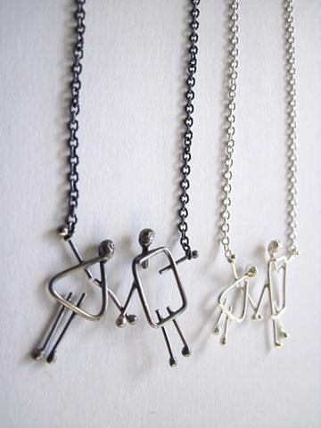 Lidia R joaillière, Lidia Raymond, bijoux, bijou Collier couple hétéro argent sterling poli  925 mixt couple necklace sterling polished.