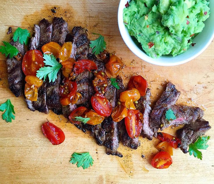 Grilled Skirt Steak with Blistered Tomatoes and Guacamole